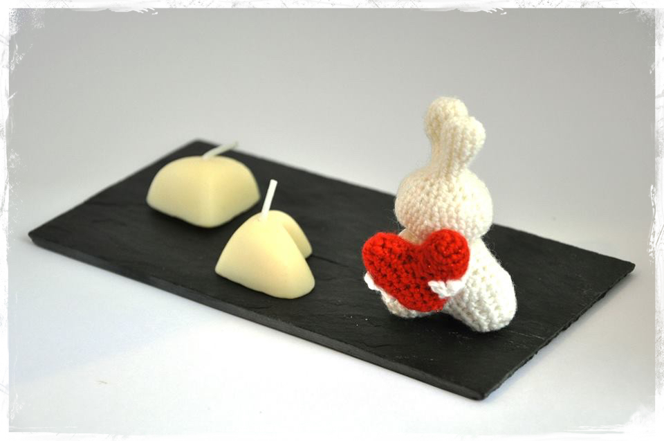 Bougies coeur et lapin crochet Anisbee